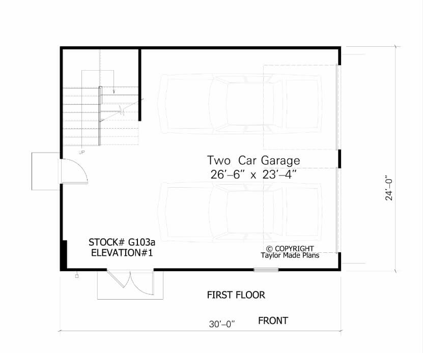 G103a 1 2 story two car garage plans 1 of 2 for 2 story workshop plans