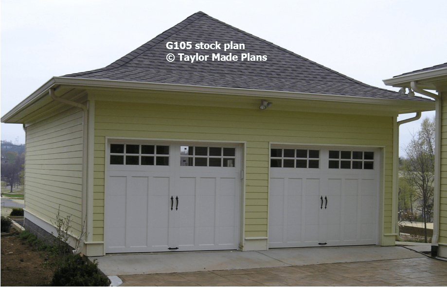 G105 two car garage taylor made plans for 2 car deep garage