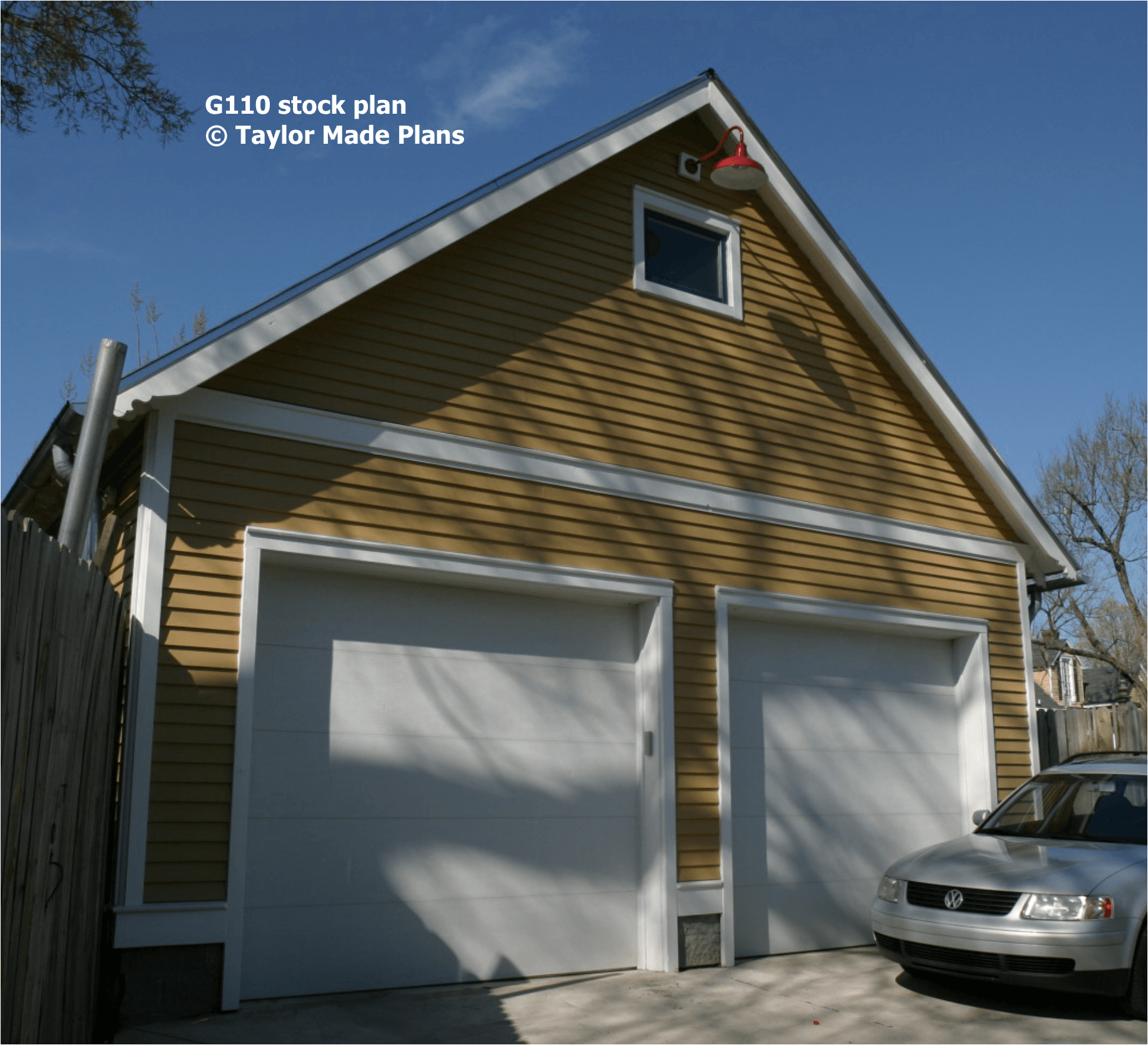 G110 two car garage with attic storage taylor made plans for Multi car garage