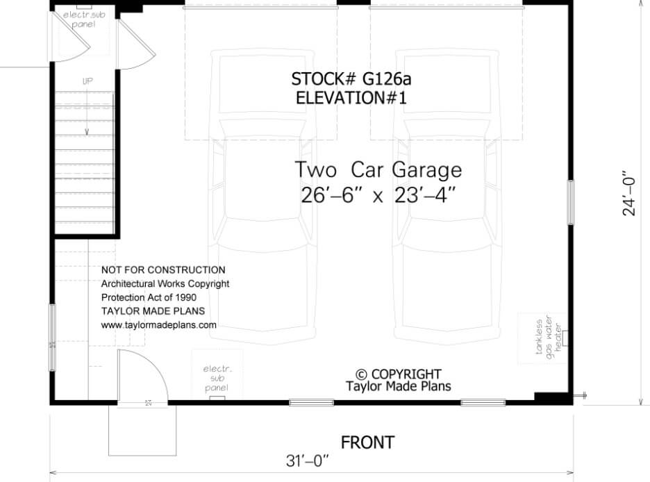 G126a 1 1 2 Story Two Car Garage With Apartment Taylor Made Plans