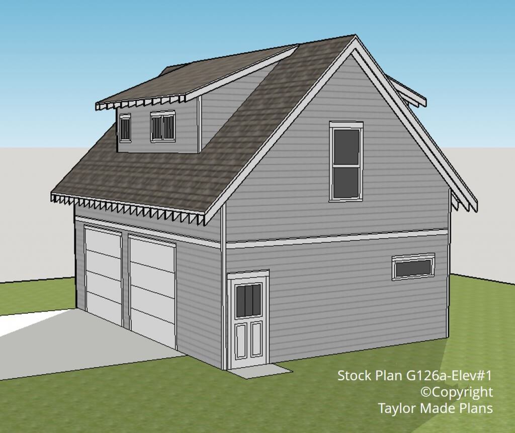 G126a – 1 1/2 story, Two Car Garage With Apartment - Taylor Made Plans