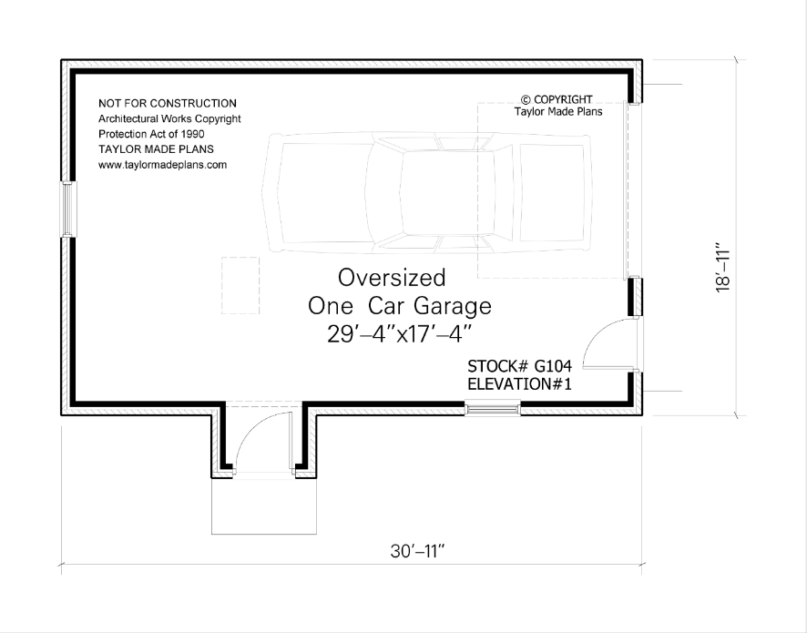 G104 one car garage taylor made plans for One car garage width